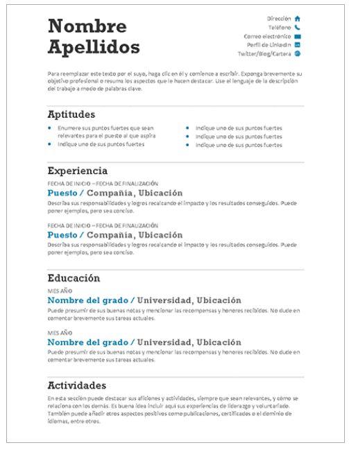 Modelo de Plantilla Curriculum Vitae Gratis
